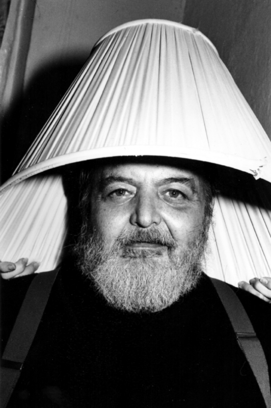 Marty Matz with a lampshade over his head - copyright Ira Cohen